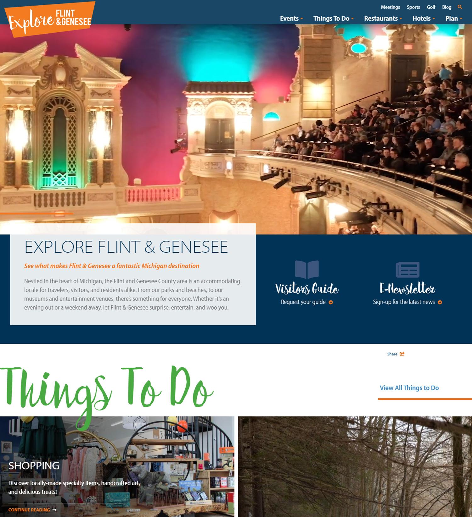 A screenshot of Explore Flint & Genesee new website